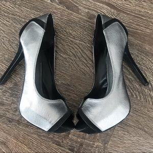 Beautiful Metallic Silver and Black Heels